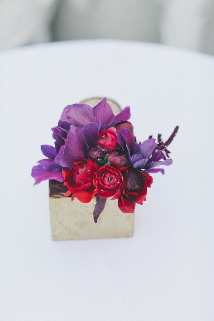 Amythest And Ruby Wedding Flower Decor