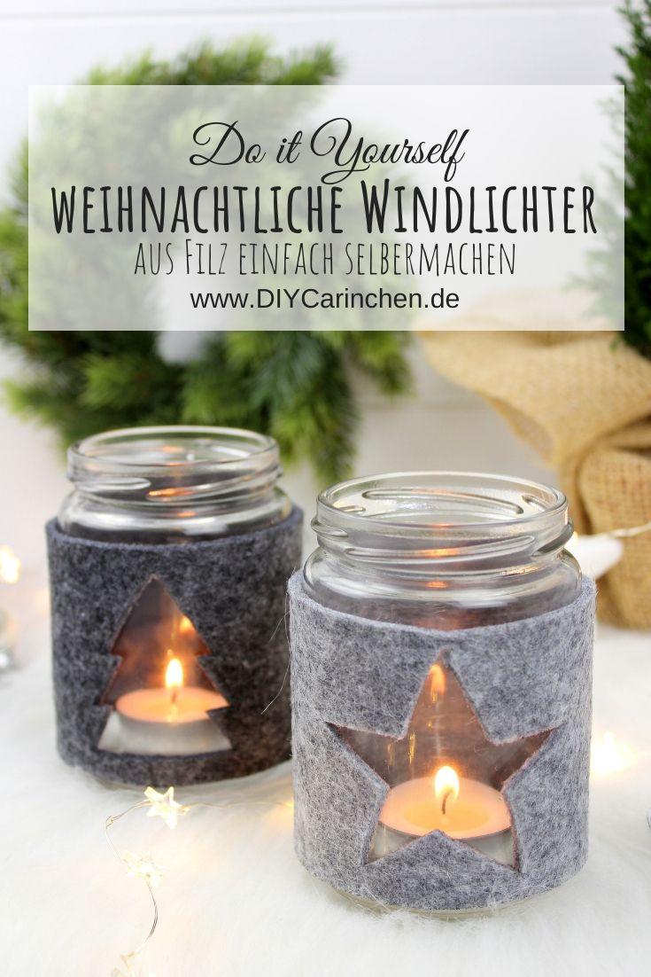 DIY - weihnachtliche Windlichter aus Filz einfach und schnell selbermachen #weihnachtsdekoglas
