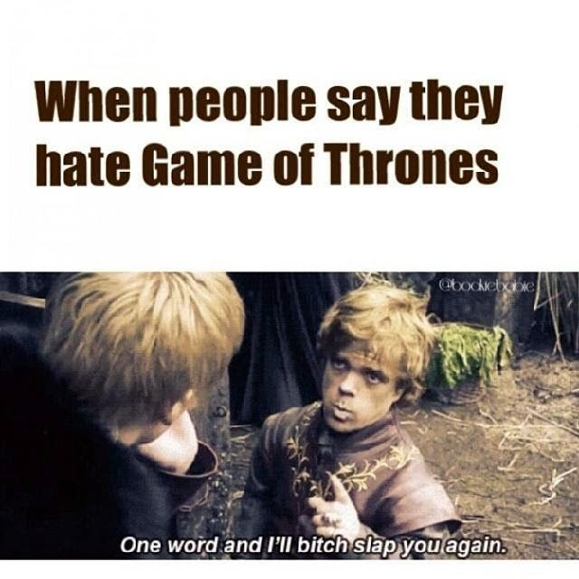 938619edab567313cac27875191c6aaf gameofthrones hate game of thrones? i'll slap you bitch tyrion