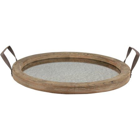 Round Rustic Wood Tray with Distressed Mirror, Brown