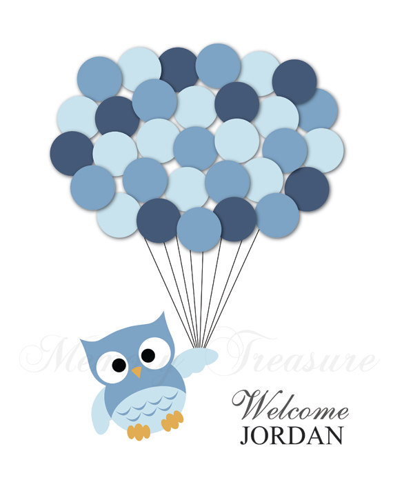 Baby Shower Guest Book Alternative Owl Children Kids Birthday Balloons  Poster Print Guest Sign Personalized Unique