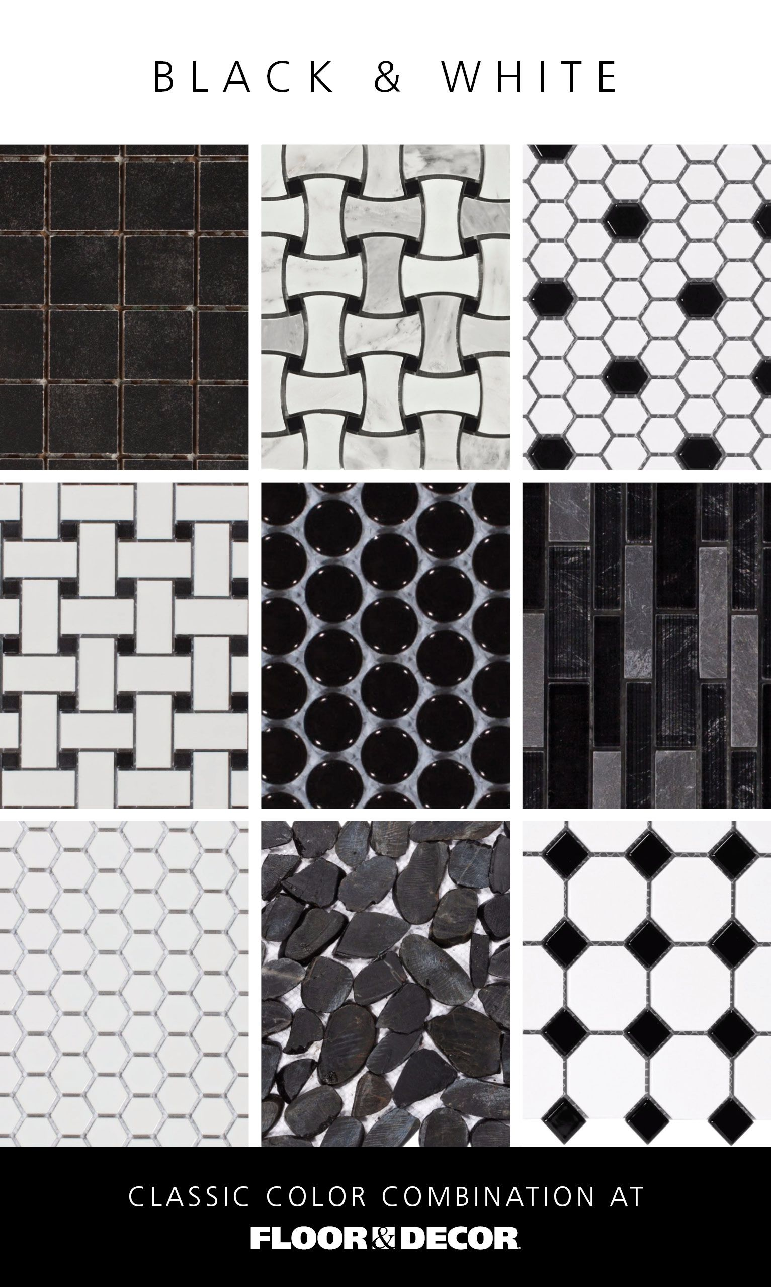 Classic Color Combo Black White Black And White Tiles