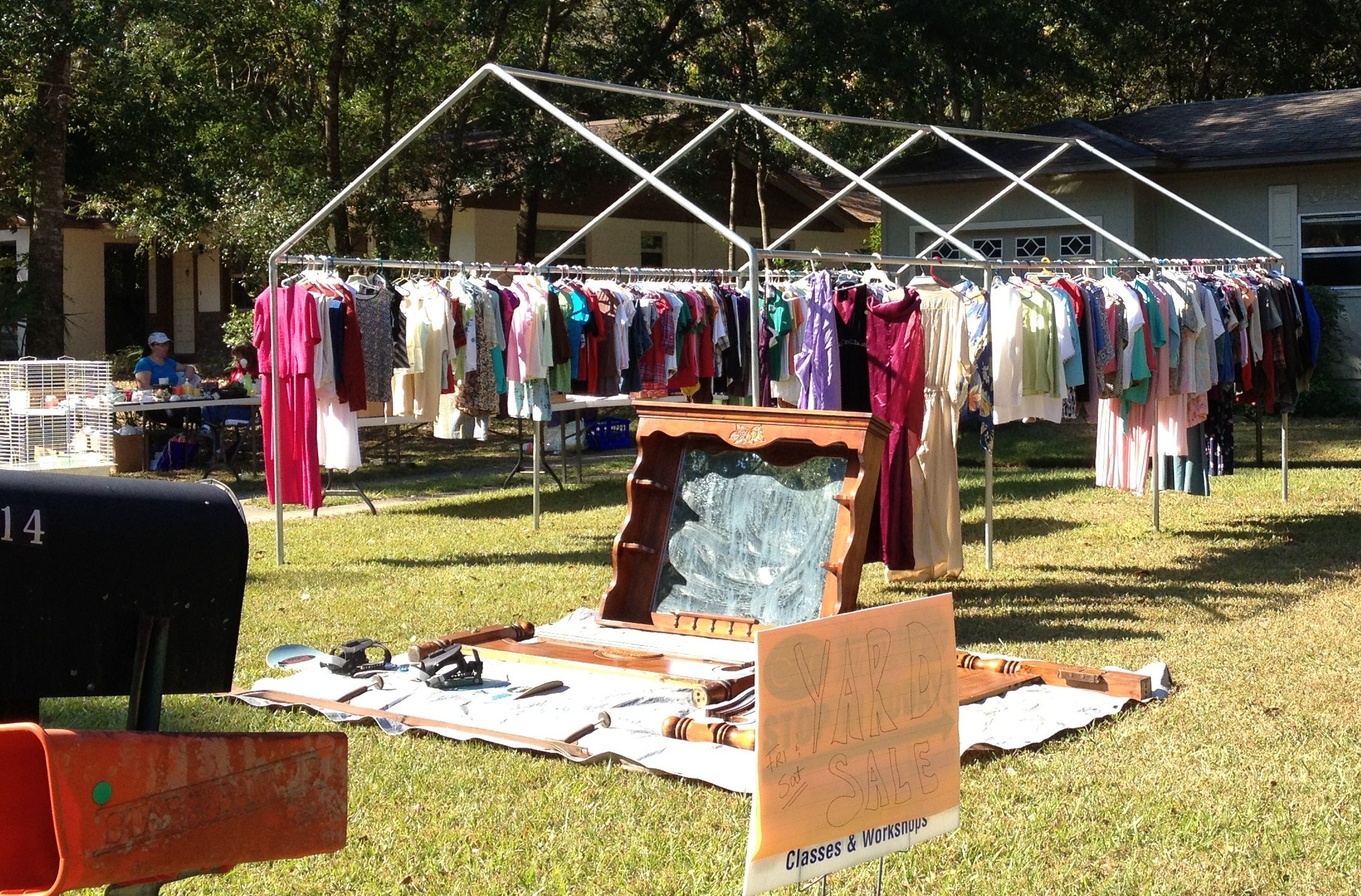 Frame for a portable garage works great as a clothing rack