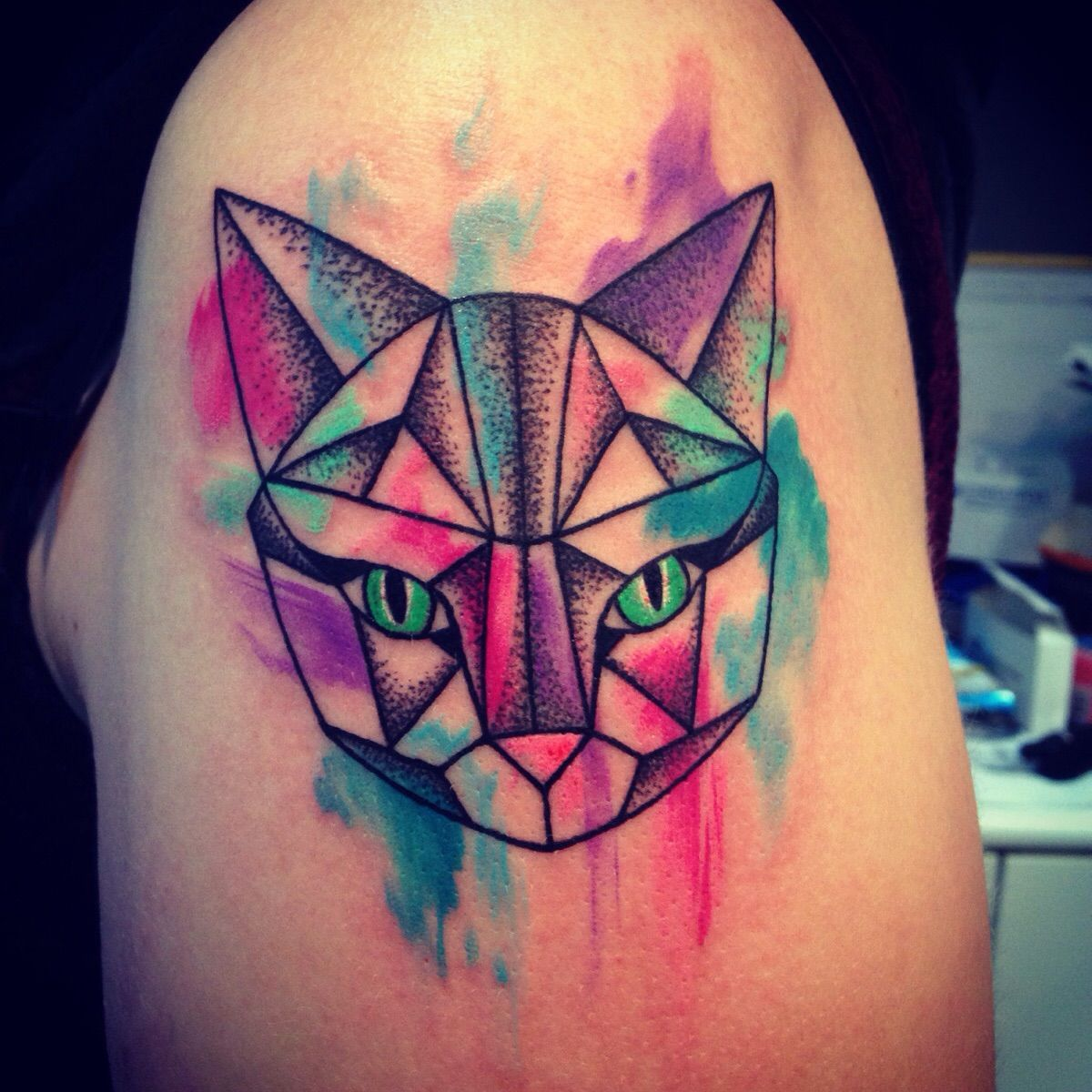 Space Cat Geometric Lines With Dot Shading And Water Colour Detail By Nadia At Eclectic Ink In Glasgow Geometric Cat Tattoo Geometric Cat Geometric Tattoo