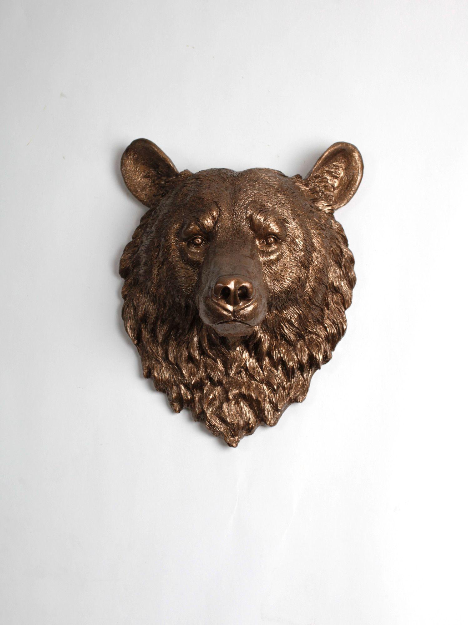 The Alberta | Bear Head | Faux Taxidermy | Bronze Resin