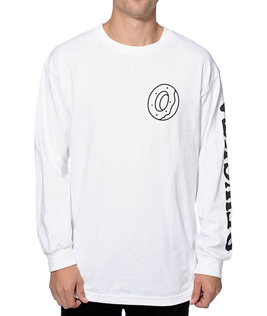 Update your wardrobe with a stylish long sleeve white colorway with an Odd  Future donut logo graphic on the chest and black OFWGKTA text on the left  sleeve. 1cc05cbad93