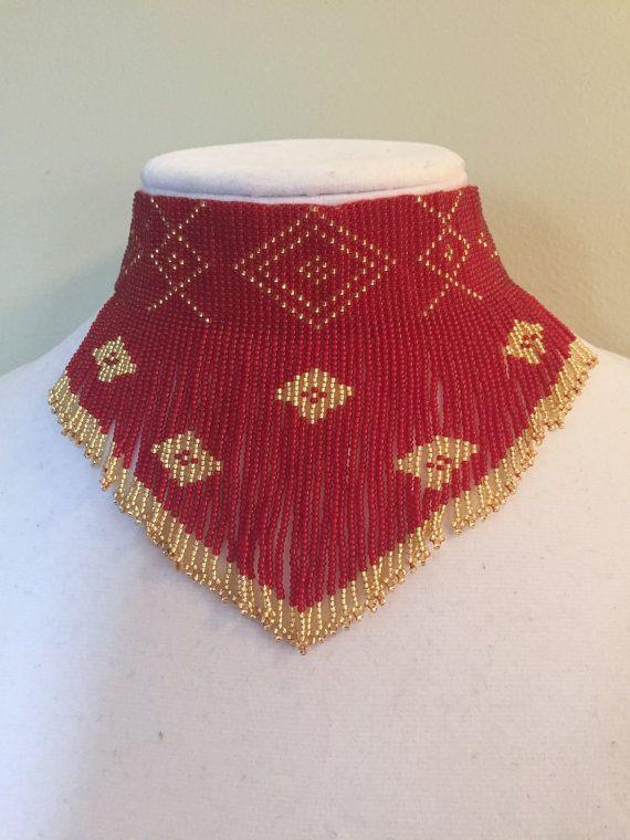 Americano nativo collar elegante semilla grano collar gargantilla con cuentas declaración babero gargantilla
