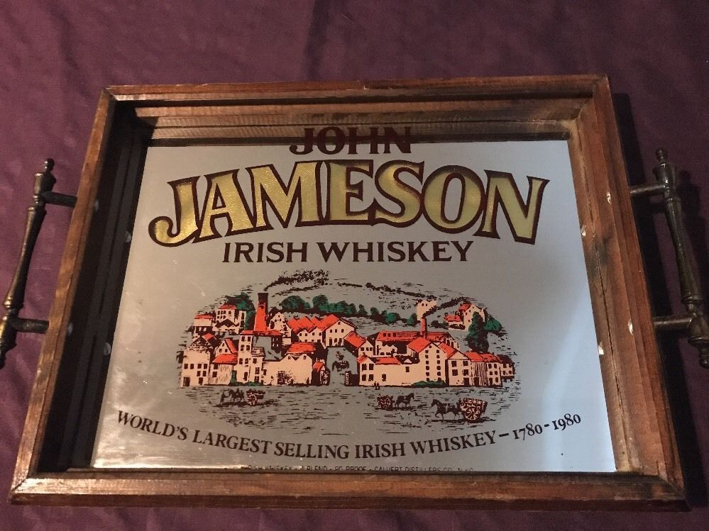 John Jameson Irish Whiskey Mirrored Sign Or Tray Celebrating 200 Years Rare Irish Whiskey Jameson Irish Whiskey Mirror Sign