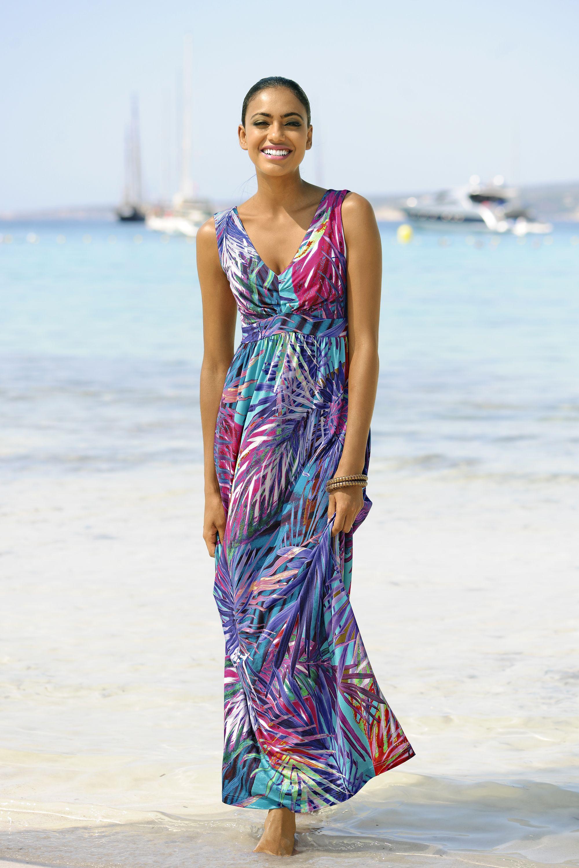 ALBA MODA sommerliches Strandkleid mit farbenfrohen Blätterprint