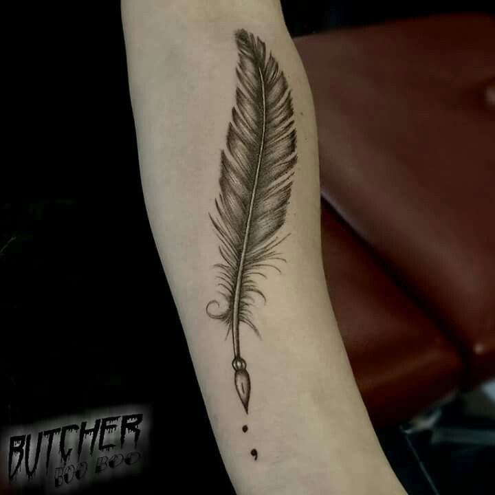 Vintage Tattoo Feather Art Semicolon Black And Grey Needle Arm Ink Feather Tattoos Feather Pen Tattoo Quill Tattoo