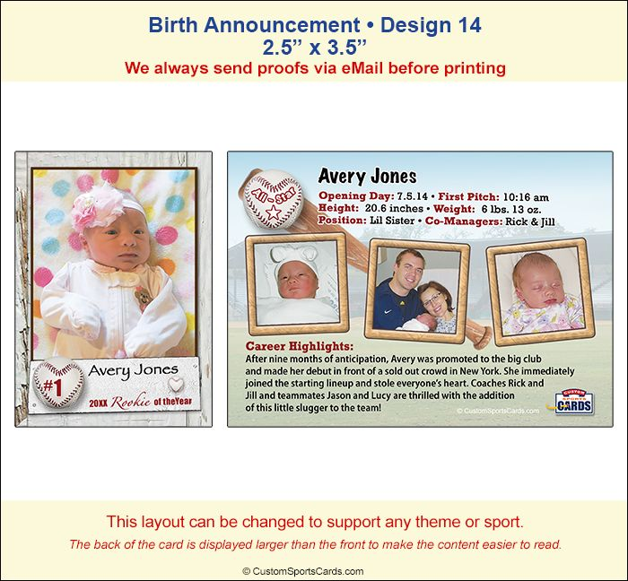 Birth Announcement Trading Card Sample   Birth Announcements
