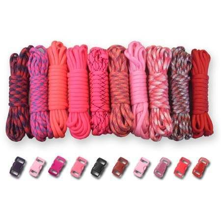 550Lb Type III Paracord Combo Crafting Kits W Buckles For Friendship Brac TIEDYE