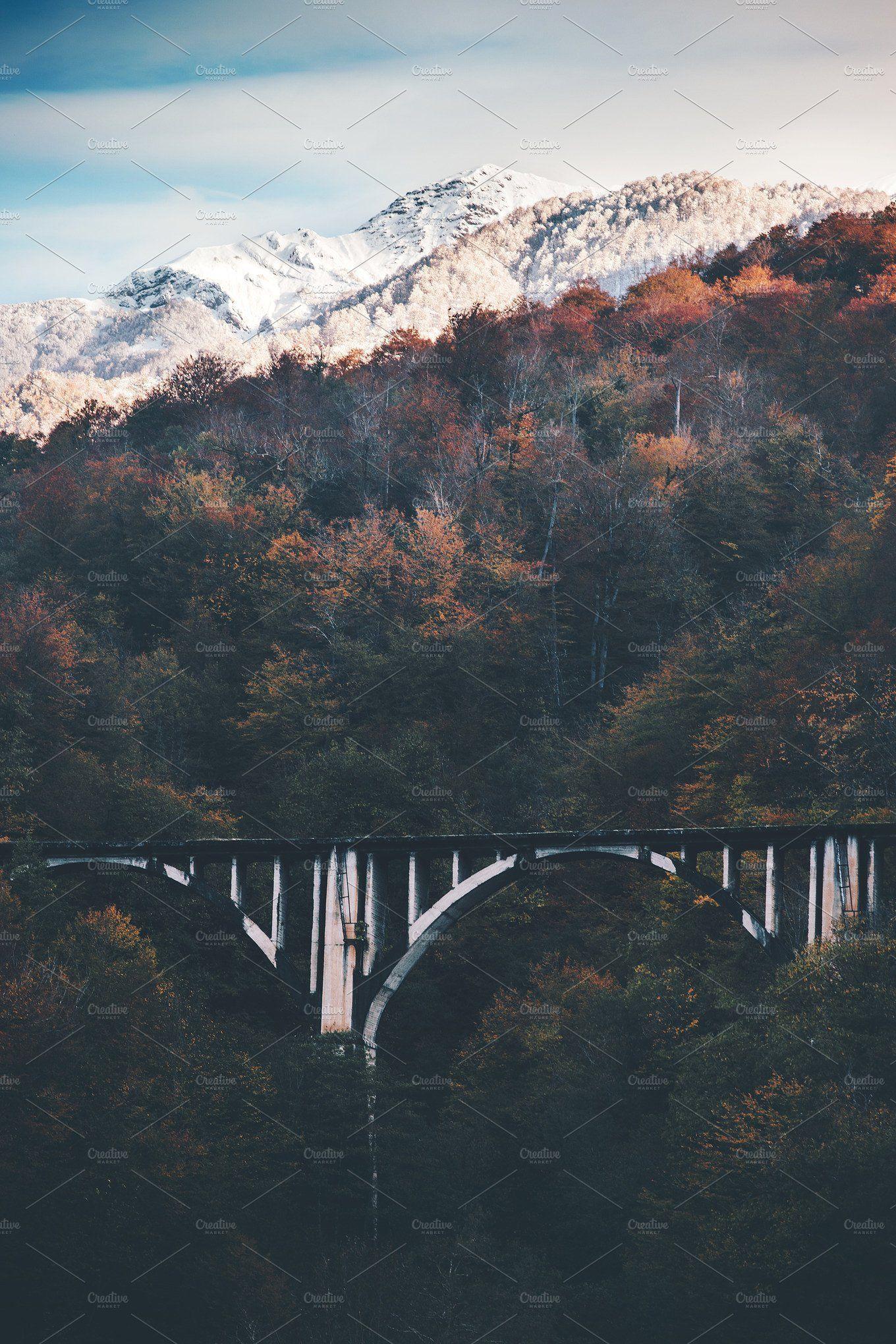 Railway Bridge And Snowy Mountains Railway Bridges Snowy Mountains Nature Photos