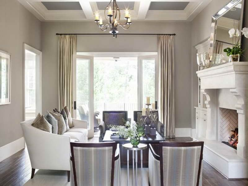 Taupe Living Room Dark Floors Off White Furniture Champagne Curtains