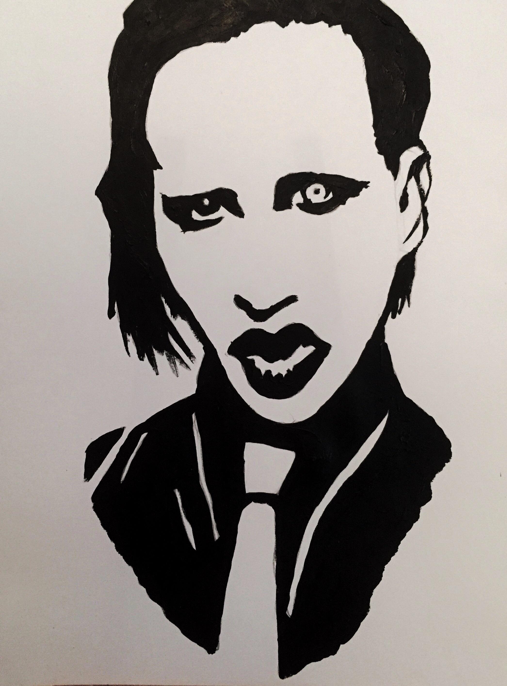 Marilyn Manson Acrylic 27x21cm Marilyn Manson Art Marilyn Manson Paintings Marilyn Manson Tattoo