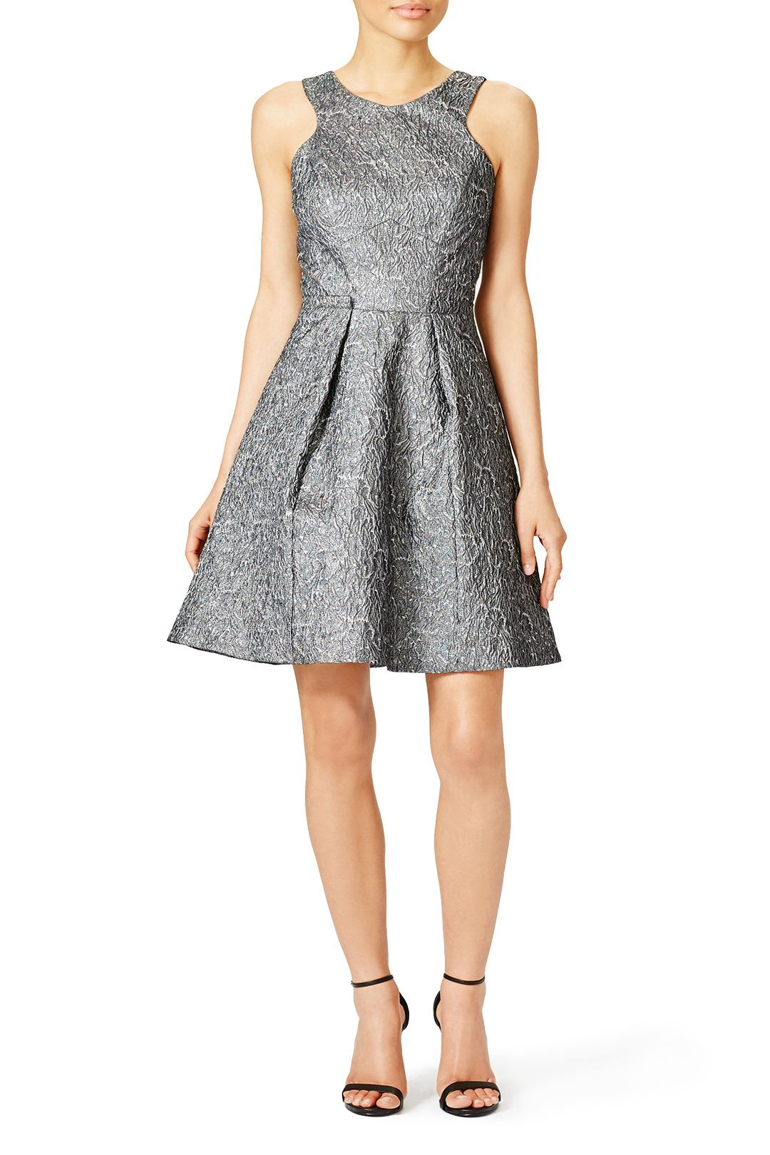 Metallic Gray Fit And Flare Dress Fall 2015 Wedding Guest Dress Ideas Cocktail Bridesmaid Dresses Guest Dresses Wedding Guest Dress [ 1620 x 1080 Pixel ]