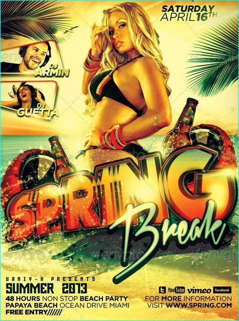 Spring Break Party Flyer Template Psd  Flyer Templates