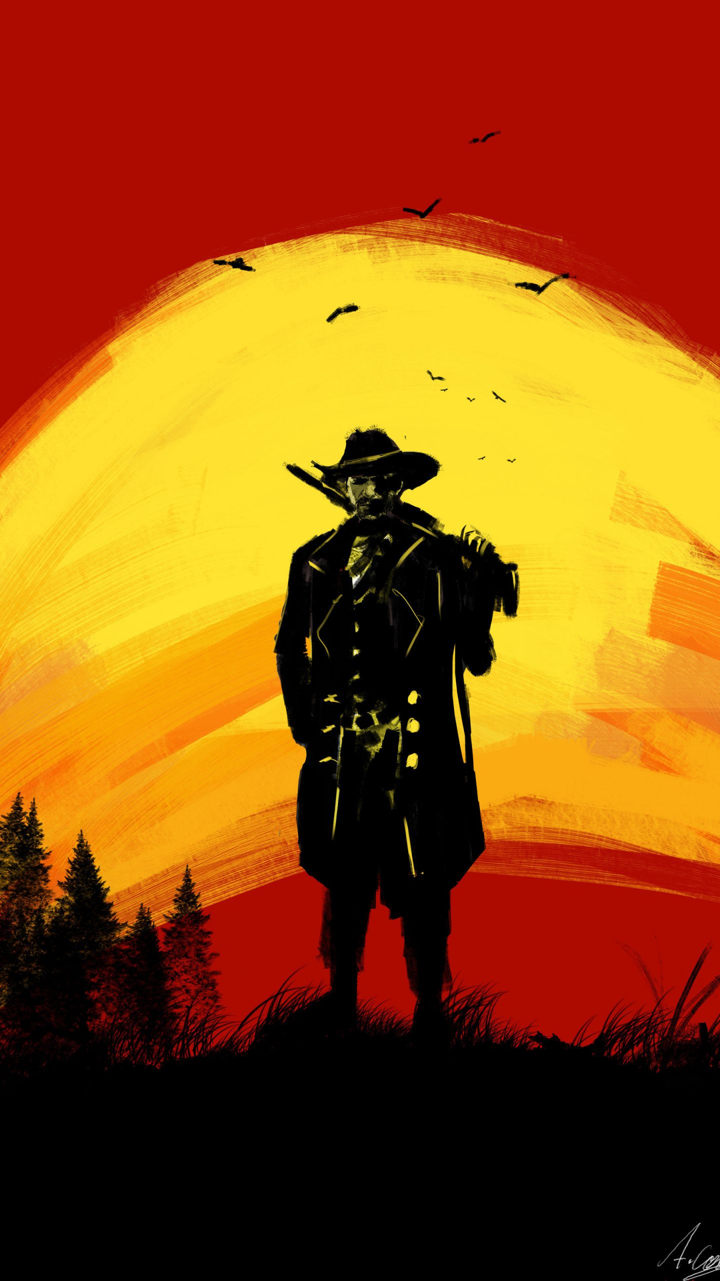 Red Dead Redemption 2, cowboy, silhouette, fan art ...