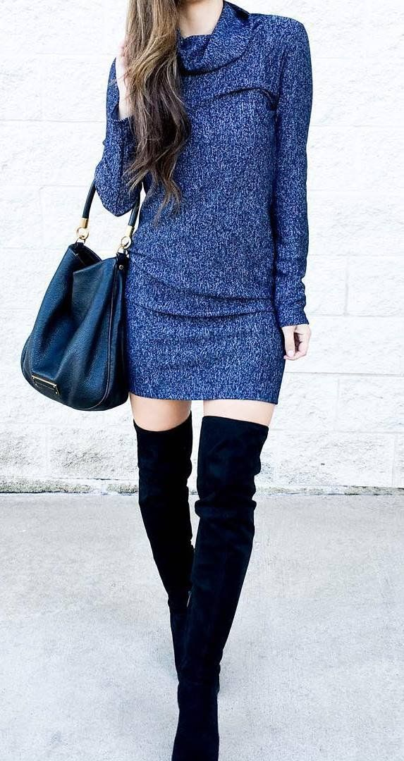 trendy outfit: dress + bag + over the knee boots