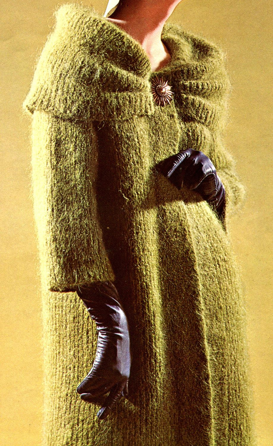 Women\'s Vintage 1960s Long Mohair Coat with Draped Collar ...