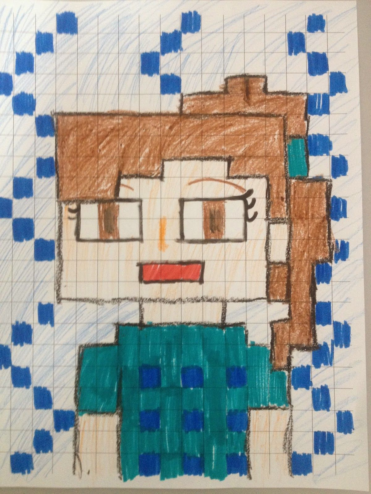 "Middle School students started 2015 off with a fun self portrait. They used large grid paper to create a ""selfie"" in Minecragt style. Each ..."