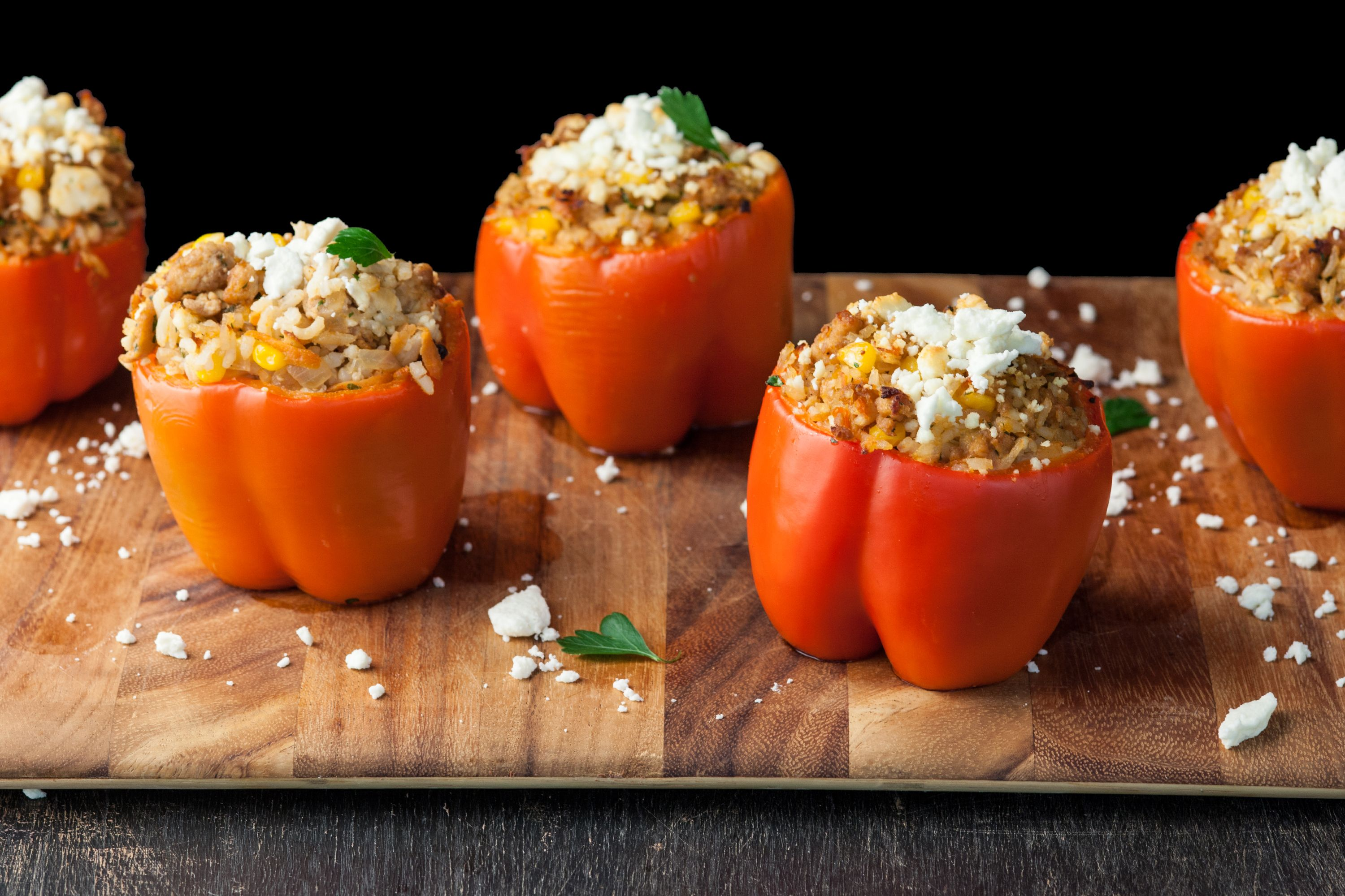 Stuffed Red Bell Peppers With Ground Chicken Recipe Recipe Stuffed Peppers Ground Chicken Recipes Ground Chicken