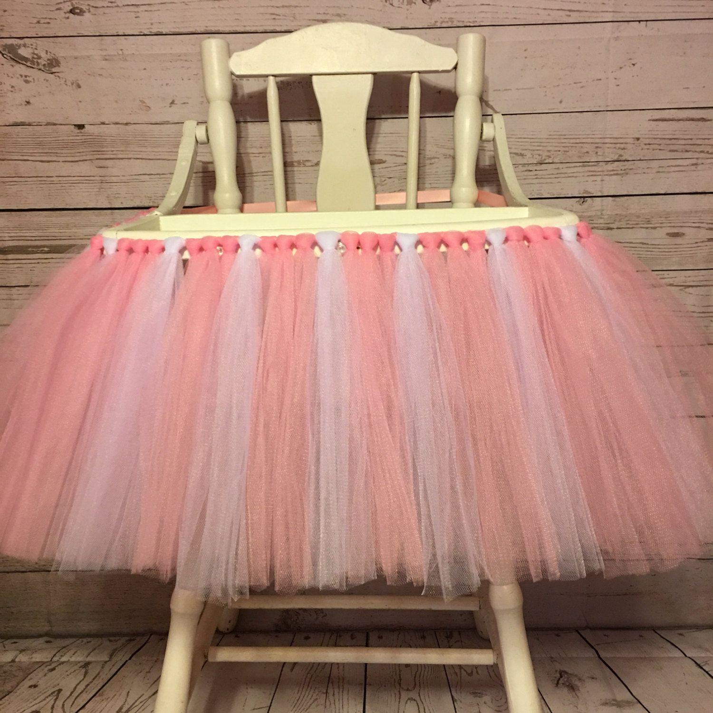 Pink And White High Chair Tutu  High Chair Skirt Highchair Tutu  Highchair  Skirt