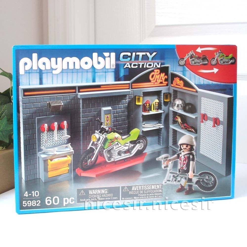 Playmobil 5982 Motorcycle Bike Repair Garage Shop Playset Toy Love