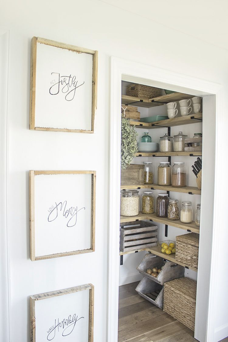 DIY Organized Walk In Modern Farmhouse Butler's Pantry Makeover With Floating Shelves - Using Crate & Pallet, Home Depot Brackets | We Lived Happily Ever After