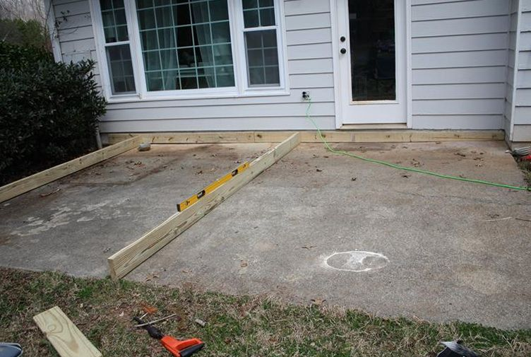 Building a ground level deck on concrete ground level