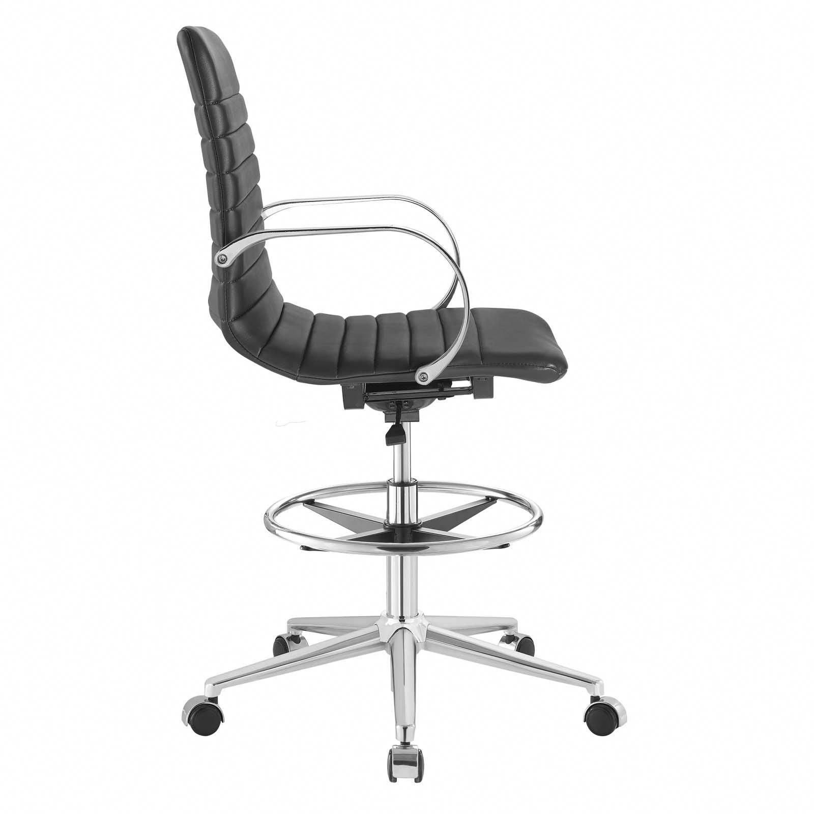 modern drafting chair walking with seat modway furniture groove ribbed back eei 2863 swing into creativity