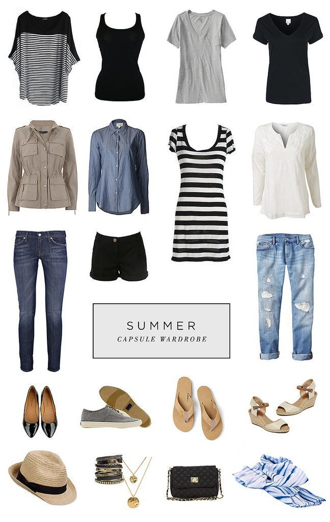 *favorite* Summer Capsule Wardrobe (straight from her board). Great article  with