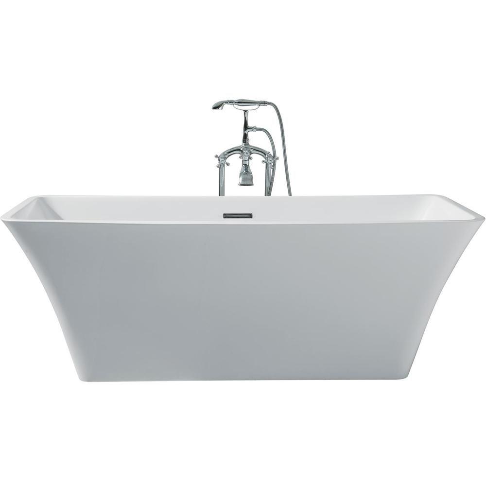 Ariel 67 In Acrylic Center Drain Rectangle Flat Bottom Freestanding Bathtub In White Bathtub Soaker Tub Shower Tub