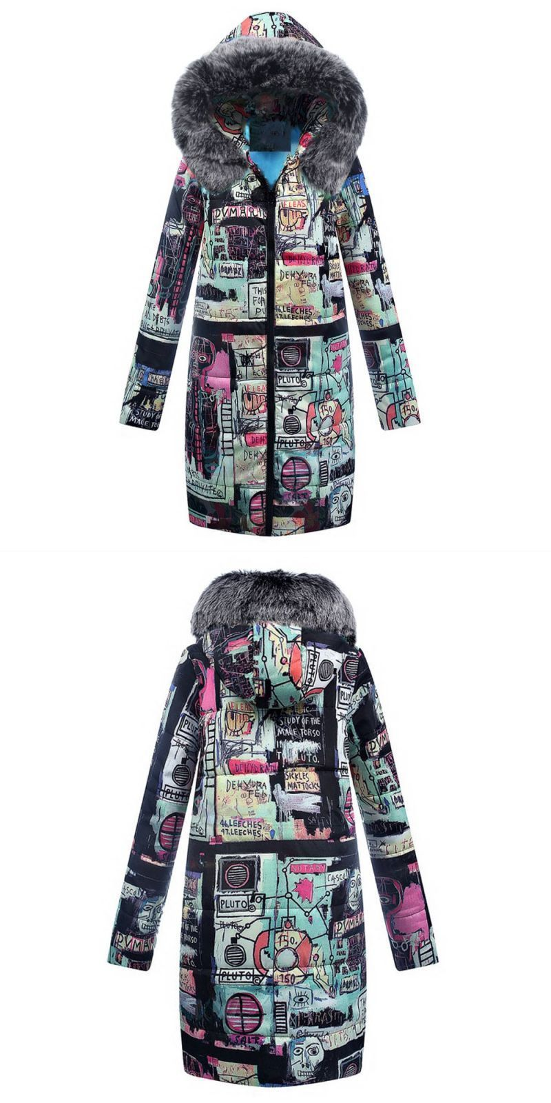 4d3d36b5abe 2018 fashion women winter hooded warm coat print cotton padded jacket female  long parka womens wadded