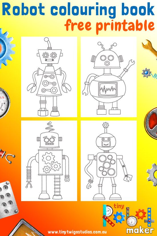 Tiny Robot Maker Mini Colouring Book Printable Make Your Own Colourful Robots And Save