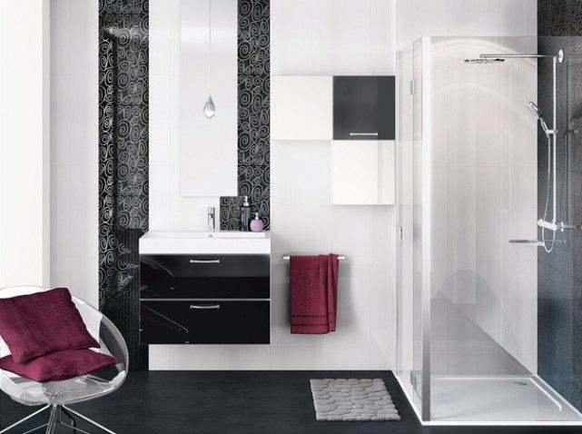 Salle de bain noir blanc gris recherche google d co Salle de bain rouge et blanc