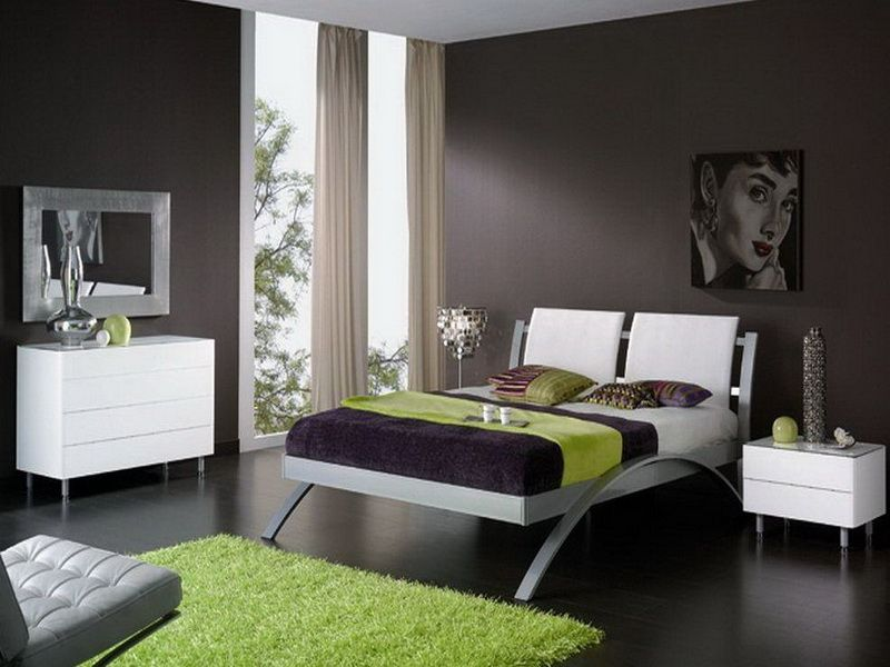 color palettes with grays and yellow | dark-green-gray-bedroom