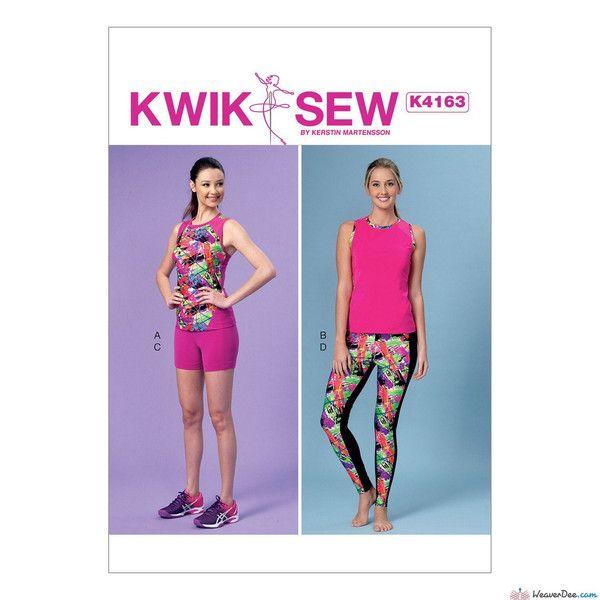 Kwik Sew Pattern K4163 Misses\' Racerback Tops, Shorts & Leggings ...