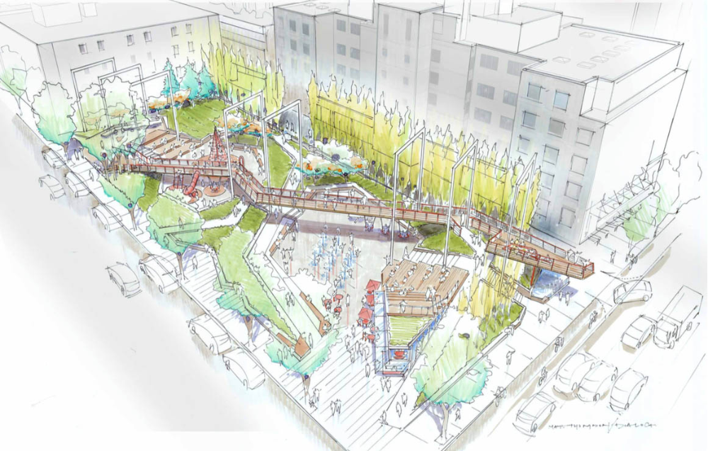 Preferred Design For New Park At Richards And Smithe Revealed Park Board Survey Open Until May 3rd Urban Park Parking Design New Downtown