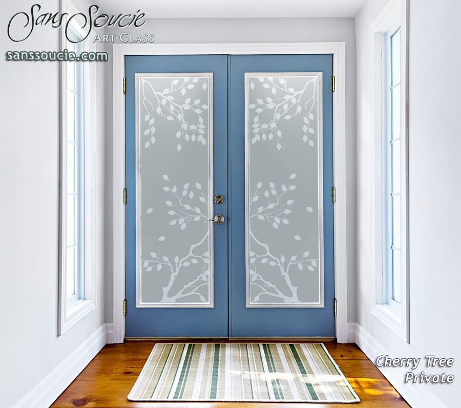 Cherry Tree Private Entry Etched Glass Doors Double Entry Doors