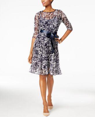 d63ca1e61d1 Jessica Howard Petite Floral-Mesh A-Line Dress