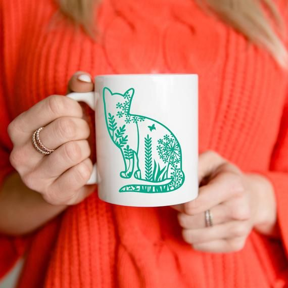 Cats mug, cute cat mug, ceramic mug 11oz 0.33L, cats and plants mug, cat lovers, nature lovers, flow