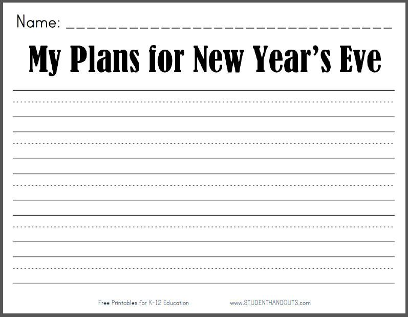 My Plans for New Year's Eve - Free Printable K-2 Writing Prompt ...
