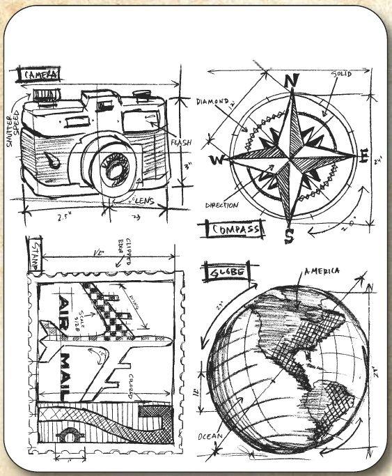 Tim Holtz - Cling Rubber Stamp Set - Travel Blueprint,$21.95