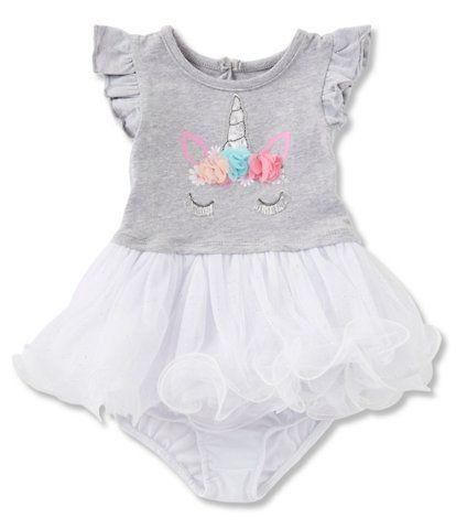 ec4b86a012f Baby Starters Baby Girls 3-24 Months Flutter Sleeve Unicorn Dress ...