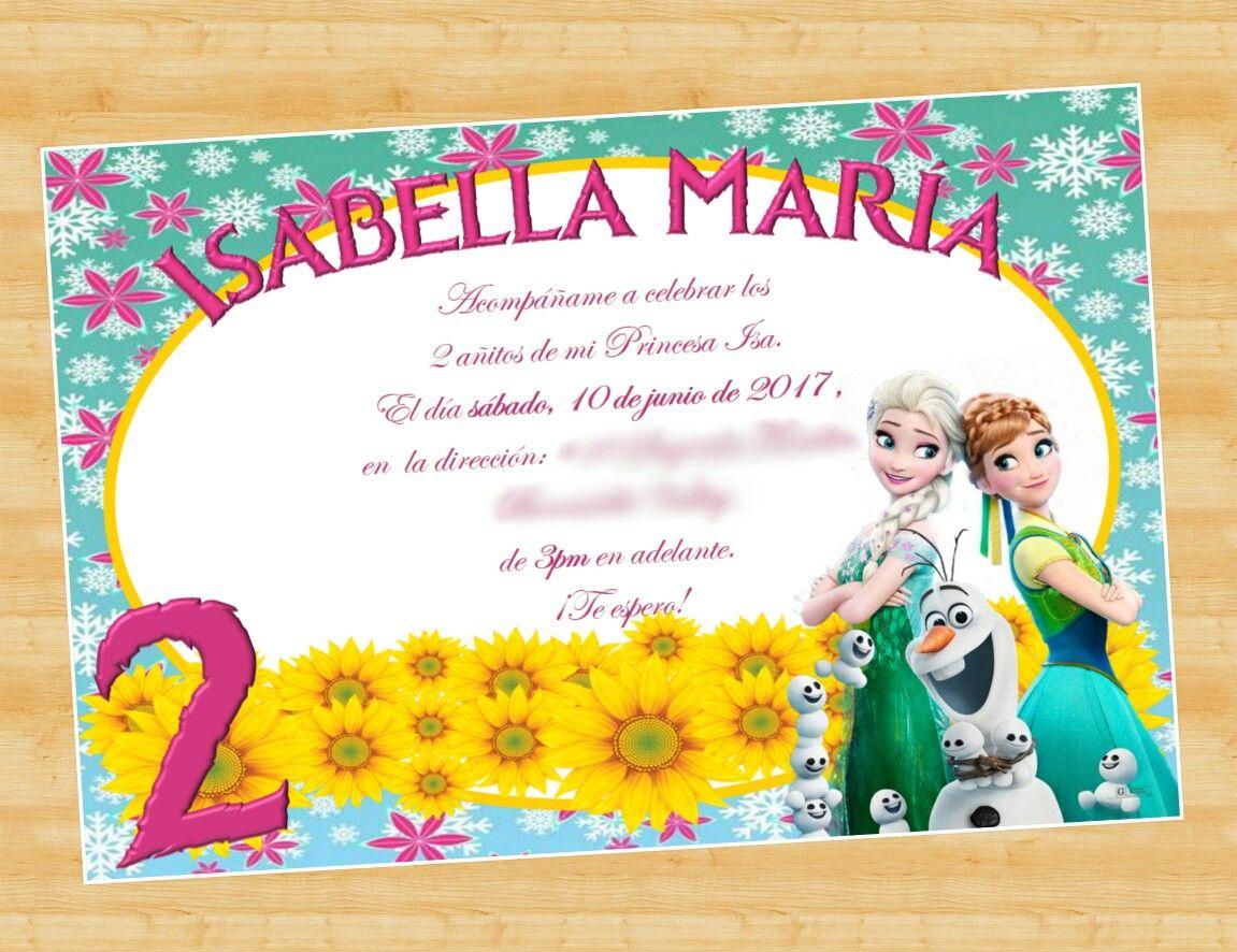Frozen Fever birthday party invitation. Invitación de cumpleaños de ...