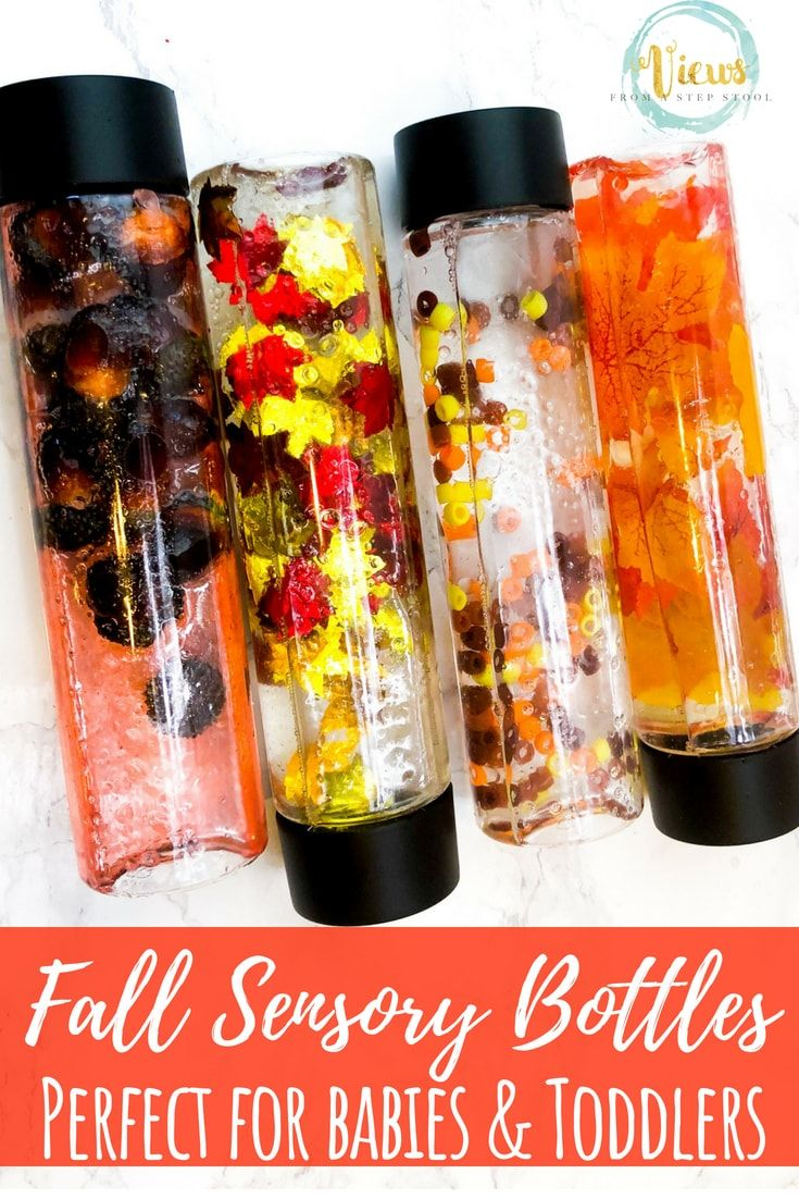 4 Fall Sensory Bottles for Babies and Toddlers #fallactivitiesforkids