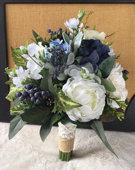 Hochzeitsstrauß, Greenery Brautstrauß, Sukkulenten Strauß, Boho Strauß, Marineblau Hochzeitss... #flowerbouquetwedding
