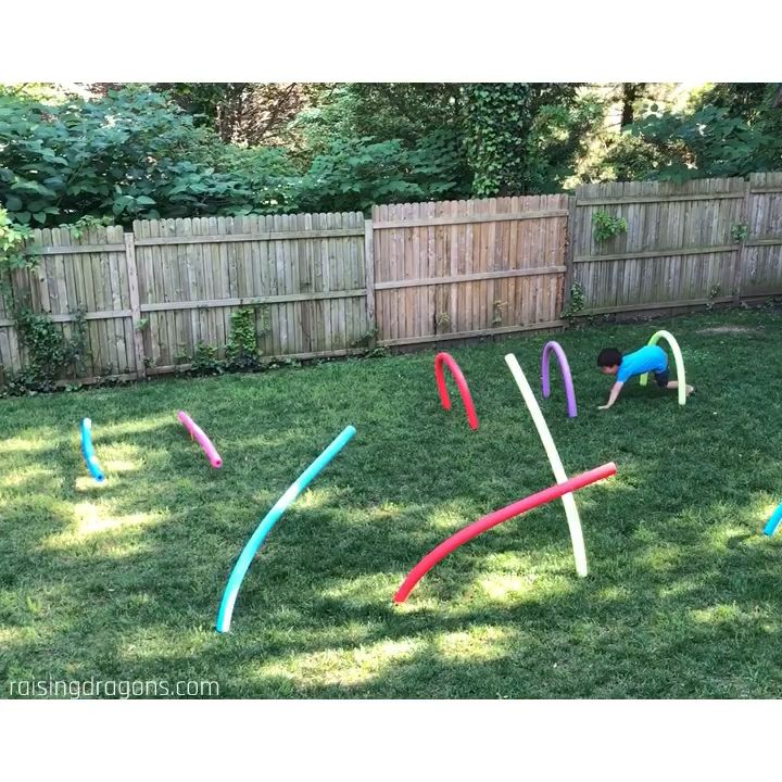 Pool Noodle Obstacle Course * ages 2+ ⋆ Raising Dragons #games