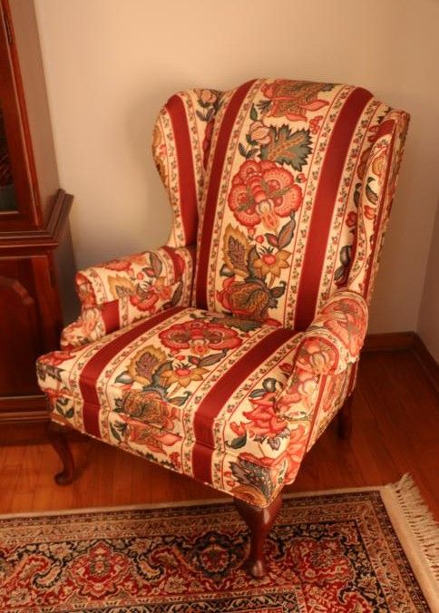 Pair Of Thomasville Floral Uph Wing Back Chairs With Removable Cushions ...